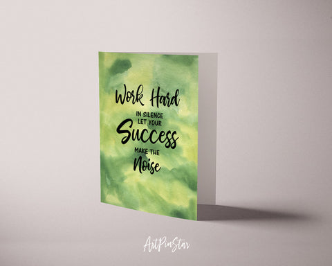 Work hard in silence let your success make the noise Frank Ocean Motivational Greeting Card