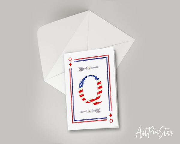 American Flag Letter Q Diamond Monogram Note Cards