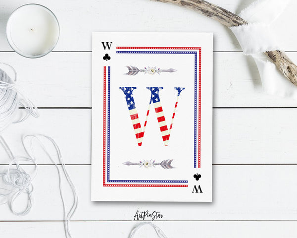 American Flag Letter W Clover Monogram Note Cards