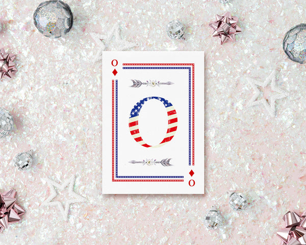 American Flag Letter O Diamond Monogram Note Cards