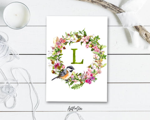 Alphabet Wreath Green Letter L Boho Floral bird Monogram Note Cards