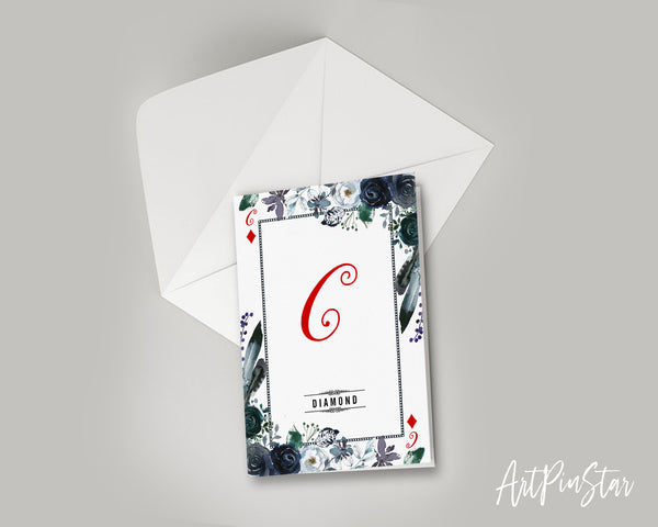Watercolor Floral Flower Bouquet Initial Letter C Diamond Monogram Note Cards