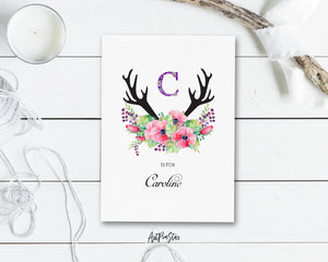 Initial Boho Floral Flower Personalized Letter C is for Name  Monogram Note Cards