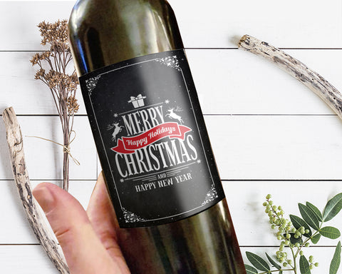 Merry Christmas and Happy New Year Chalkboard Holiday Wine Bottle Customizable Label