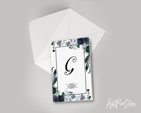 Watercolor Floral Flower Bouquet Initial Letter G Clover Monogram Note Cards