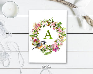 Alphabet Wreath Green Letter A Boho Floral bird Monogram Note Cards