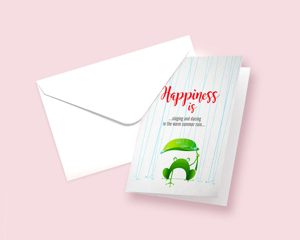 Happiness is singing and dancing in the warm summer rain Frog Animal Greeting Cards