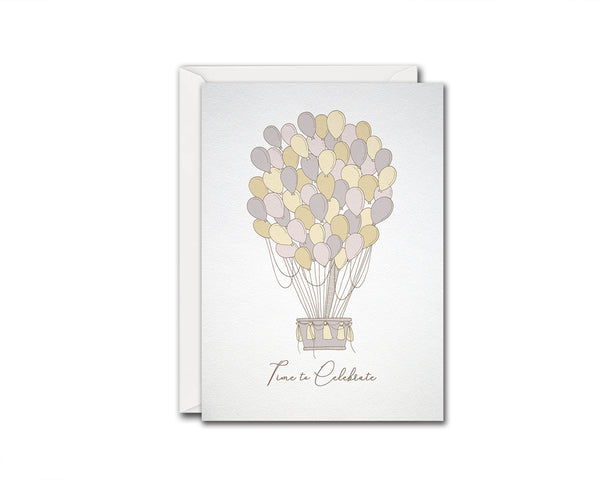 Time to Celebrate Ballon Customizable Greeting Cards