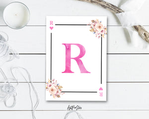 Boho Floral Bouquet Initial Flower Letter R Heart Monogram Note Cards