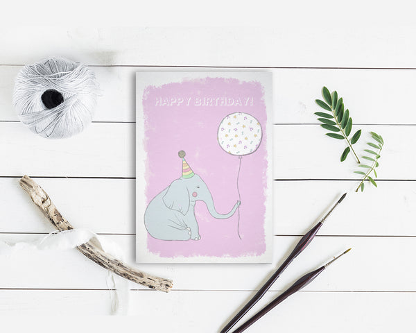 Happy Birthday Elephant Customizable Greeting Cards