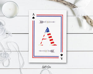American Flag Letter A Spade Monogram Note Cards