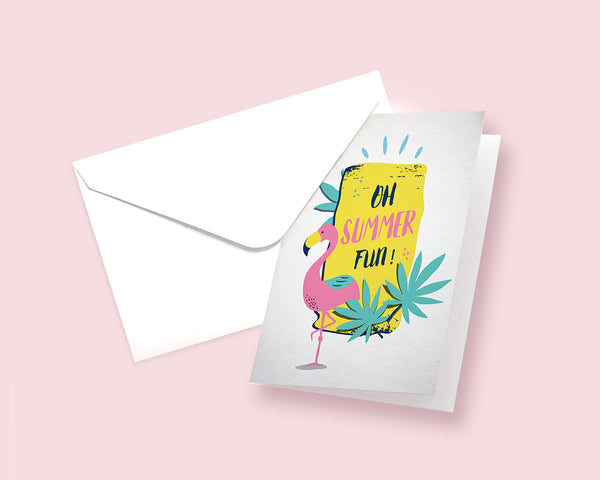 Oh Summer Fun Flamingo Animal Greeting Cards