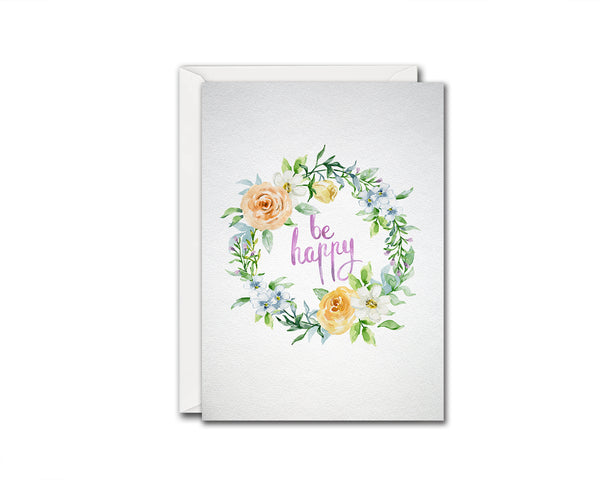 Be happy Happiness Quote Customized Greeting Cards