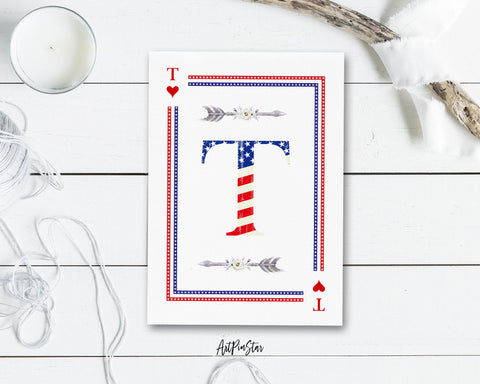 American Flag Letter T Heart Monogram Note Cards