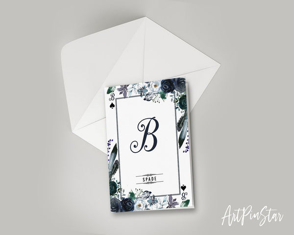 Watercolor Floral Flower Bouquet Initial Letter B Spade Monogram Note Cards