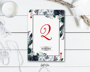 Watercolor Floral Flower Bouquet Initial Letter Q Diamond Monogram Note Cards