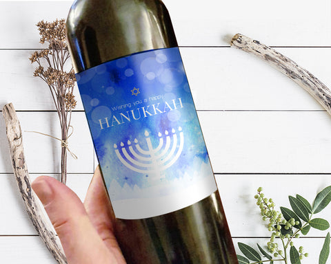 Wishing you a happy Hanukkah Holiday Wine Bottle Customizable Label