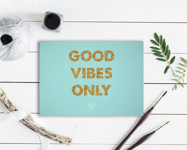 Good Vibes Only Positive Quote Customized Greeting Cards