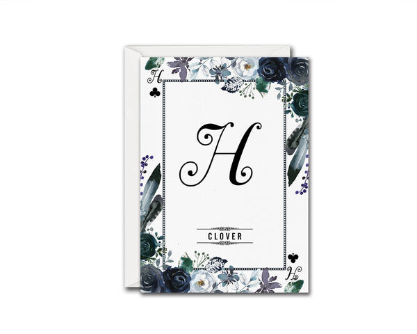 Watercolor Floral Flower Bouquet Initial Letter H Clover Monogram Note Cards