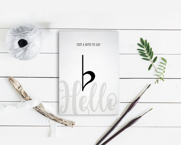 Just a note to say Hello Flat Sign Flat Sign Music Gift Ideas Customizable Greeting Card
