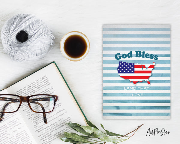God bless America land that I love Bible Verse Customized Greeting Card