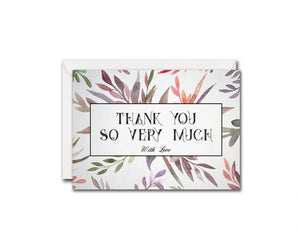 Thank you so ery much with love Messages Note Cards