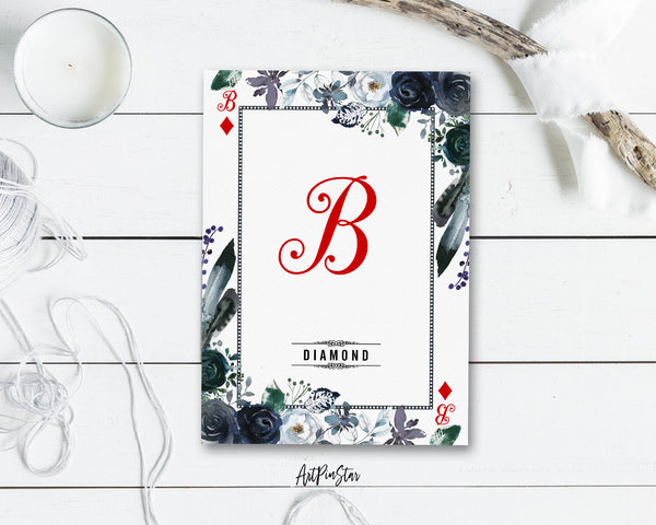 Watercolor Floral Flower Bouquet Initial Letter B Diamond Monogram Note Cards