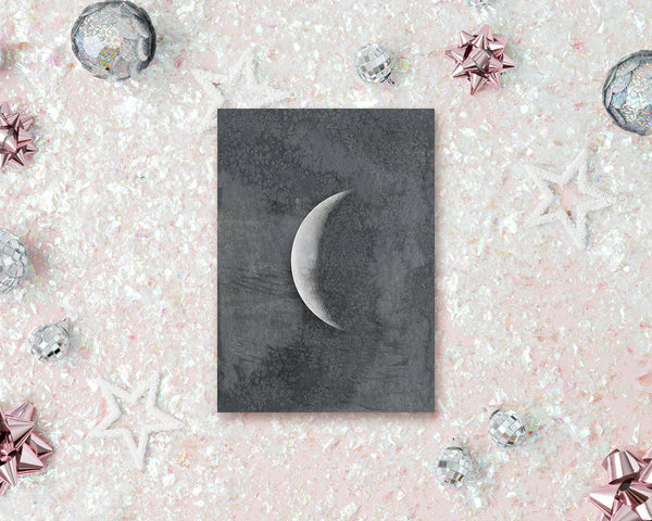 Waning Crescent Moon Phases Watercolor Galaxy Space Customizable Greeting Card
