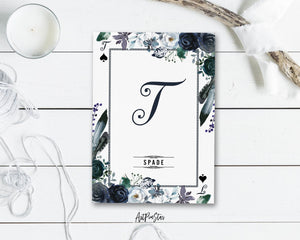 Watercolor Floral Flower Bouquet Initial Letter T Spade Monogram Note Cards