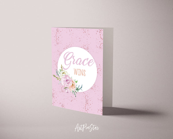 Grace wins Bible Verse Customized Greeting Card