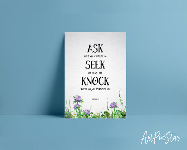 Ask, Seek and Knock You Shall Find Matthew 7:7 Bible Verse Customized Greeting Card