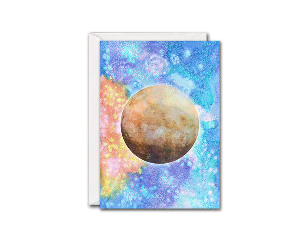 Mars Planet Watercolor Galaxy Space Customizable Greeting Card