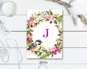 Alphabet Wreath Pink Letter J Boho Floral bird Monogram Note Cards