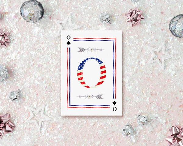 American Flag Letter O Spade Monogram Note Cards