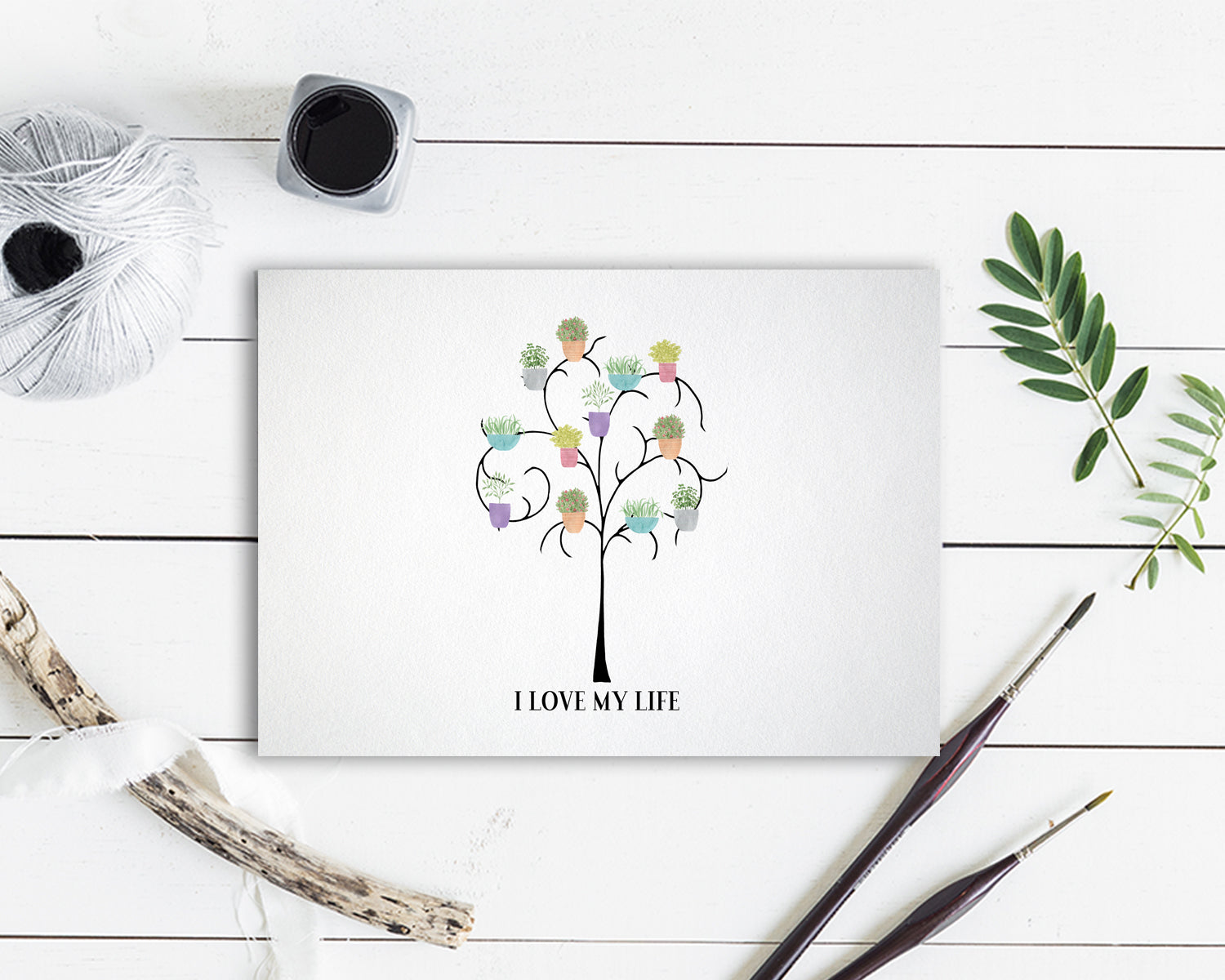 I love my life Flower Quote Customized Gift Cards
