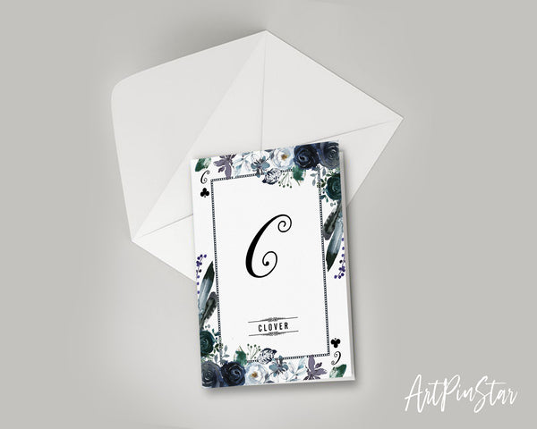 Watercolor Floral Flower Bouquet Initial Letter C Clover Monogram Note Cards