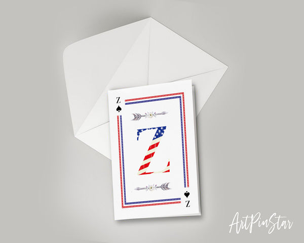 American Flag Letter Z Spade Monogram Note Cards