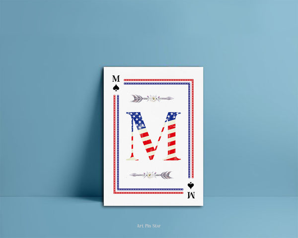 American Flag Letter M Spade Monogram Note Cards