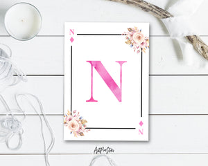 Boho Floral Bouquet Initial Flower Letter N Diamond Monogram Note Cards
