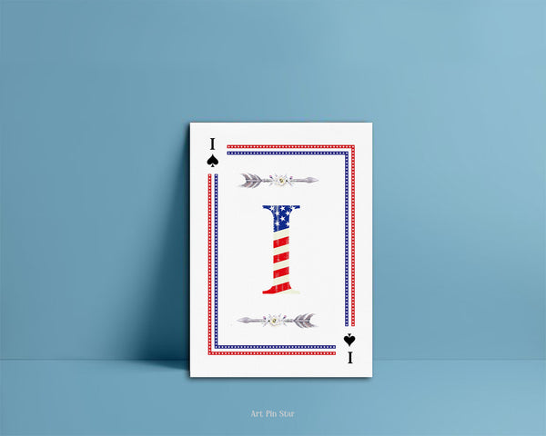 American Flag Letter I Spade Monogram Note Cards