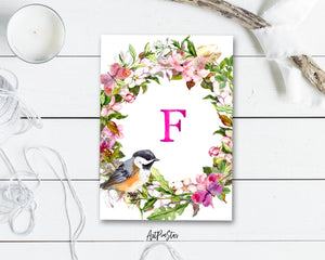 Alphabet Wreath Pink Letter F Boho Floral bird Monogram Note Cards