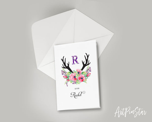 Initial Boho Floral Flower Personalized Letter R is for Name  Monogram Note Cards