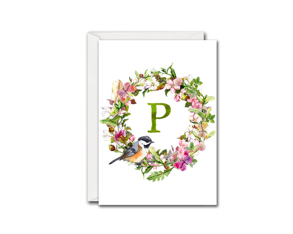 Alphabet Wreath Green Letter P Boho Floral bird Monogram Note Cards