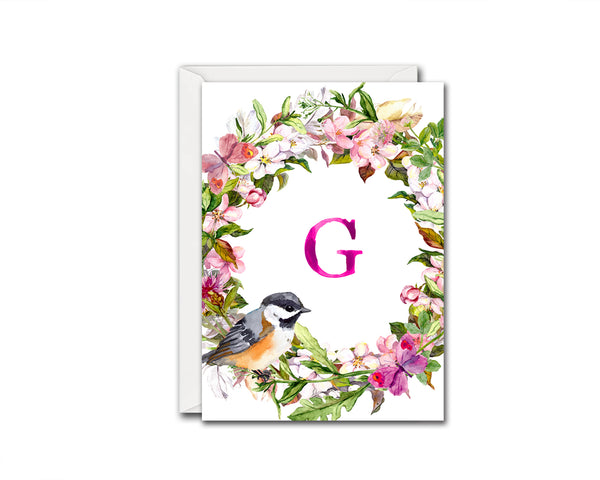 Alphabet Wreath Pink Letter G Boho Floral bird Monogram Note Cards