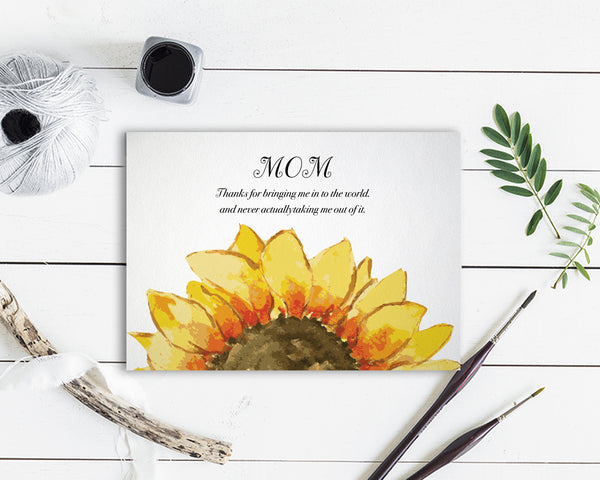Mom, thanks for bringing me in to the world Flower Quote Customized Gift Cards