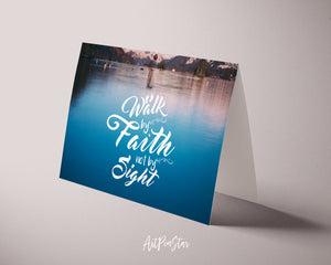 Walk by faith not by sight Bible Verse Customized Greeting Card