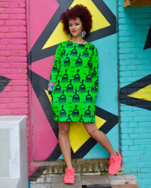 Afro Pick Oversized Sweater Dress