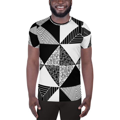 Noir & Blanc Psychedelic Men's Athletic T-shirt | Black or White