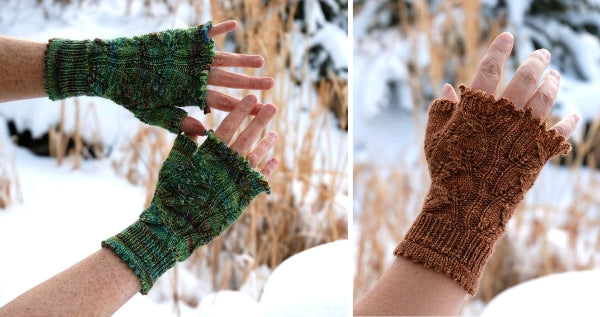 Lovely Leaves Fingerless Gloves