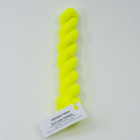 Yellow Light Sabre - Socknado Mini Twister 20 Gram - Dyed Stock
